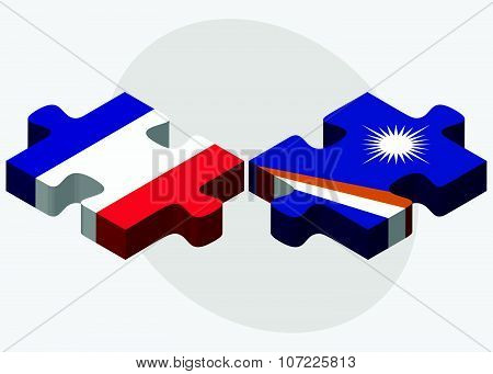 France And Marshall Islands Flags