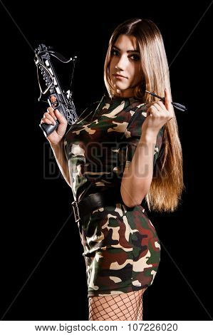 Military Woman Loading The Arbalest