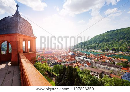 Schloss Heidelberg and city panorama from castle