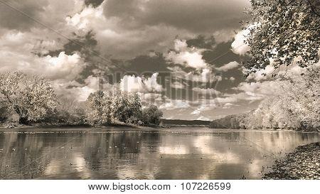 Daytime. Nighttime. River Landscape. Sepia. Metallic Luster.