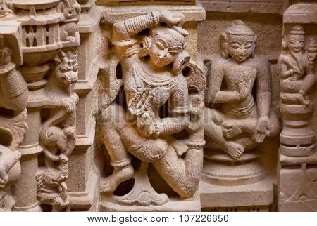Dance Of Indian Woman On Carved Wall Of Sandstone Bas-relief In 12Th Century Jain Temples, India.