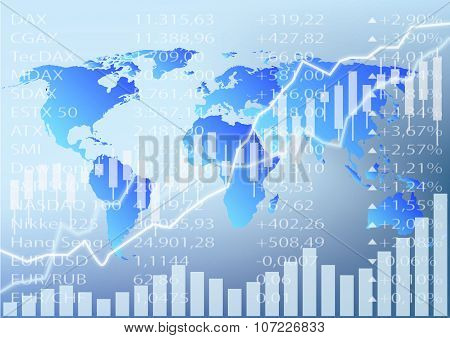 Stock Market Illustration, Stock Chart And World Map