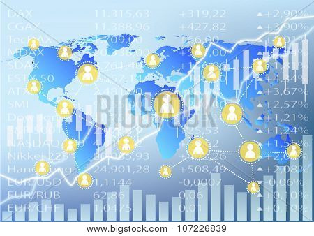 Social Trading Illustration - Stock Market Charts
