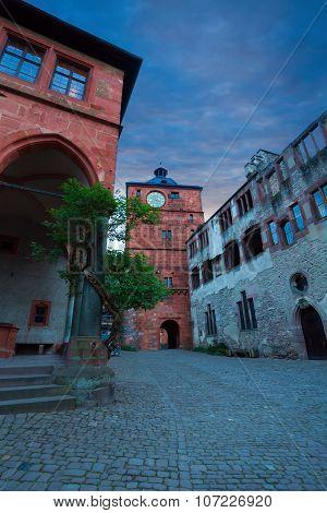 Inner square of Heidelberg castle during evening