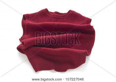 Red sweater without sleeves