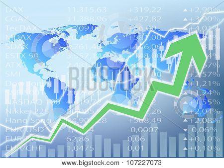 Stock Market Illustration - Green Arrow  Chart