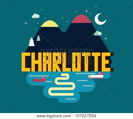 Charlotte city in colorful poster design.