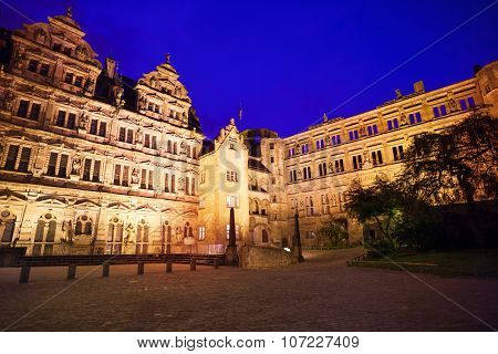 Inner yard of Heidelberg castle during night