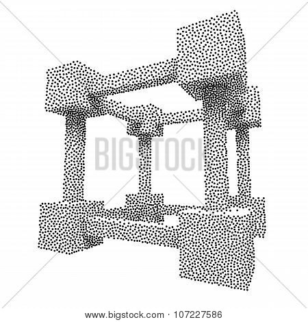 Wireframe Mesh Dotwork Vector Cube