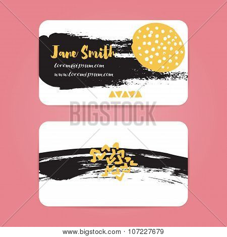 Business card with brush ink strokes. Abstract black splotches and stains with yellow spots. Vector