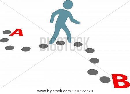 Person Walk Follow Path Plan Point A To B