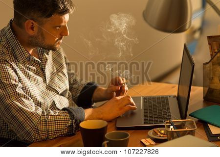Bearded Male Sitting At Laptop
