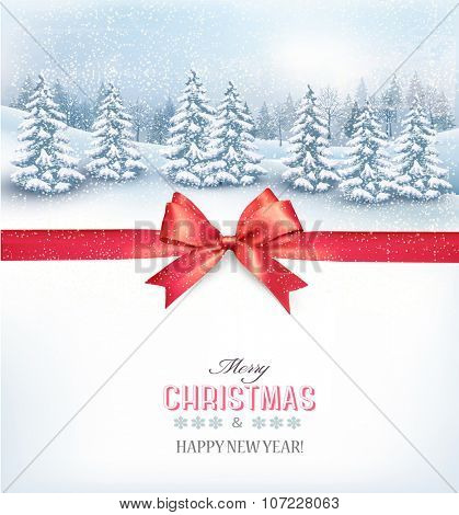 Christmas background with a snowy landscape and a red bow. Vector.