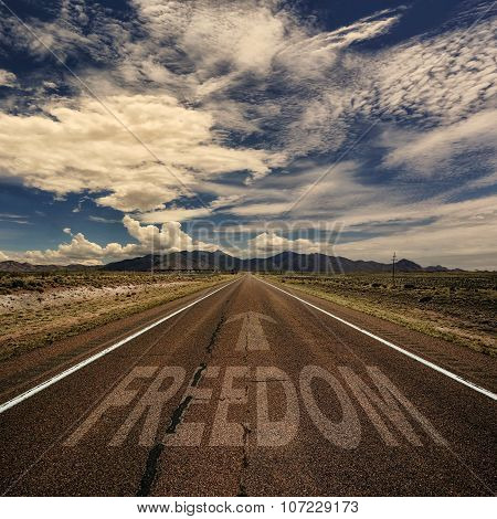 Road With The Word Freedom
