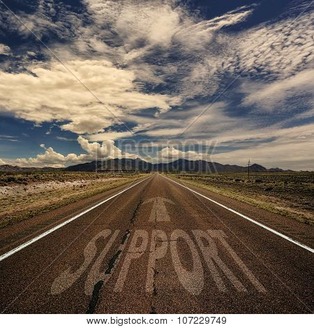 Conceptual Image Of Road With The Word Support