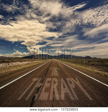 Conceptual Image Of Road With The Word Therapy
