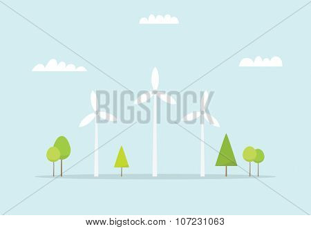 Wind farm. Cartoon windmill. Simple flat image
