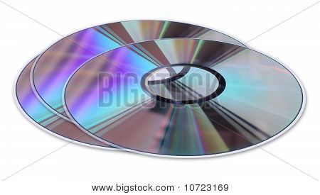 Three Cd / Dvd Disks Isolated On White