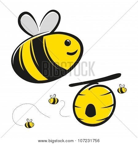 Honey Bee And Bee Hive Cartoon