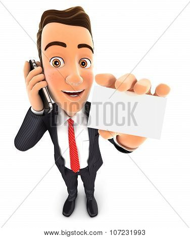 3d businessman on the phone and holds blank card
