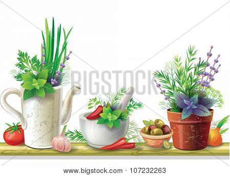 Still life with garden herbs