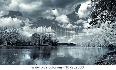 Daytime. Nighttime. River Landscape. Metallic Luster.