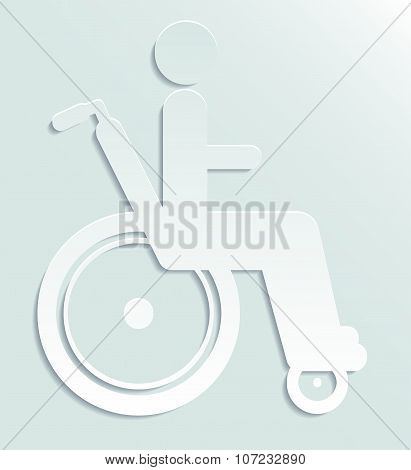 White paper icon disabled person in wheelchair