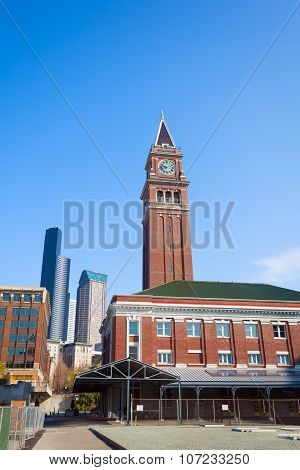 Seattle King Street Station with clock tower, USA