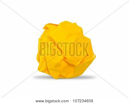 Yellow Crumpled Paper Ball