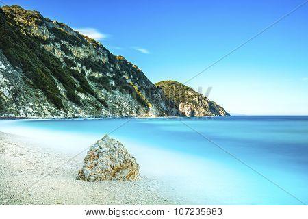 Rock In A Blue Sea. Sansone Beach. Elba Island. Tuscany, Italy,
