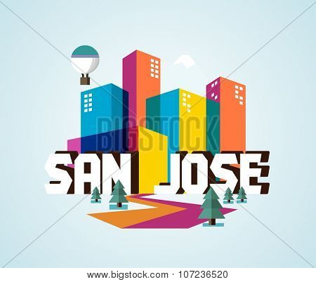 San Jose in colourful poster design.