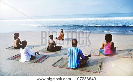Healthy Yoga Class By The Beach Meditation Concept