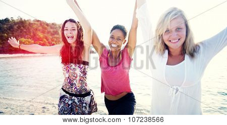 Women Fun Beach Girls Power Celebration Concept