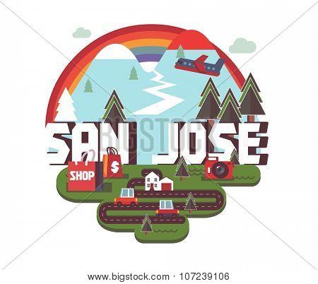 San Jose in colorful poster design.
