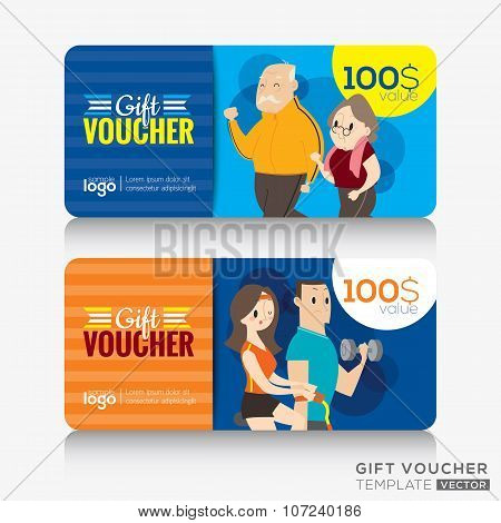 Fitness Center Gym Coupon Voucher Or Gift Card Design Template