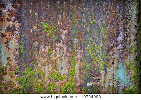 Grunge Rusty Iron With Pieces Of Paint And Moss