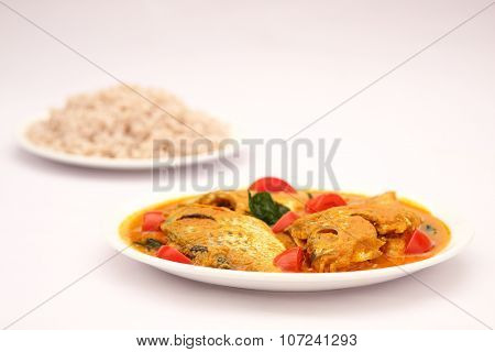 Healthy food Steam cooked Cooked rice with fish curry,