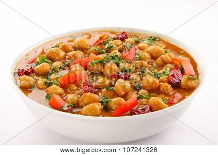 Hot and spicy channa masala,