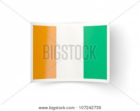 Bent Icon With Flag Of Cote D Ivoire