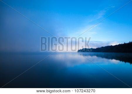 Morning Winter fog on Bled  Lake Slovenia