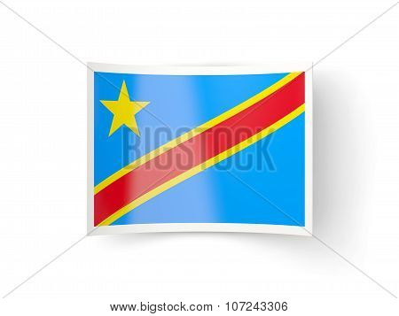 Bent Icon With Flag Of Democratic Republic Of The Congo