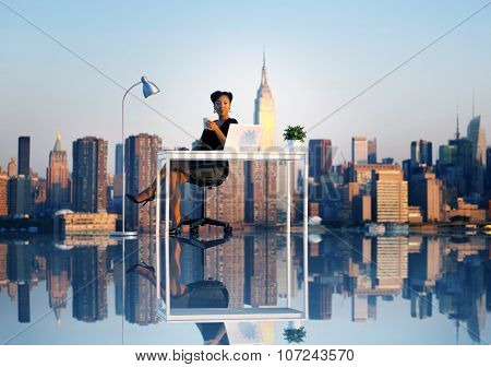 Businesswoman Outdoor Working Coffee Break Concept
