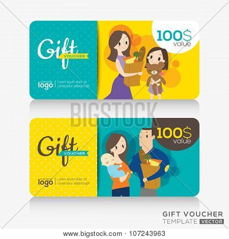 Supermarket Coupon Voucher Or Gift Card Design Template