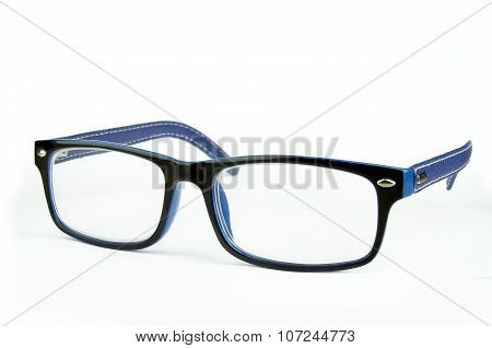 Blue Fashion Glasses On White Background, Sideview