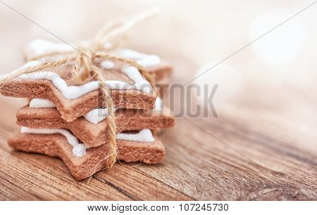 Gingerbread on wooden background