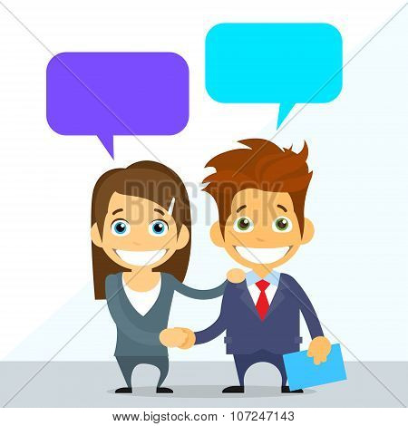 Business Couple Man and Woman Handshake Talking Discussing