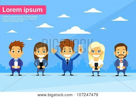 Business People Group Using Cell Smart Phone Call Internet Communication
