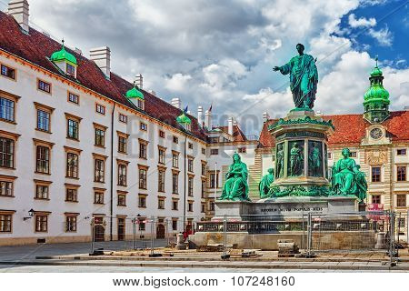 Vienna, Austria-september 10,2015: Statue Of Francis Ii, Holy Roman Emperor In The Courtyard Square