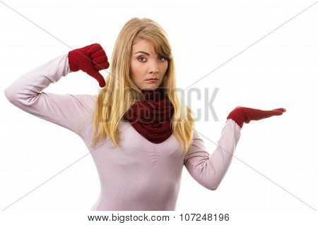 Unhappy Woman In Woolen Gloves Showing Thumbs Down, Negative Emotions