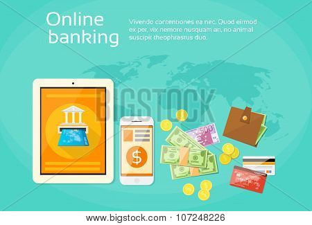 Online Banking Internet Electronic Payment Tablet Phone Money Credit Card Wallet